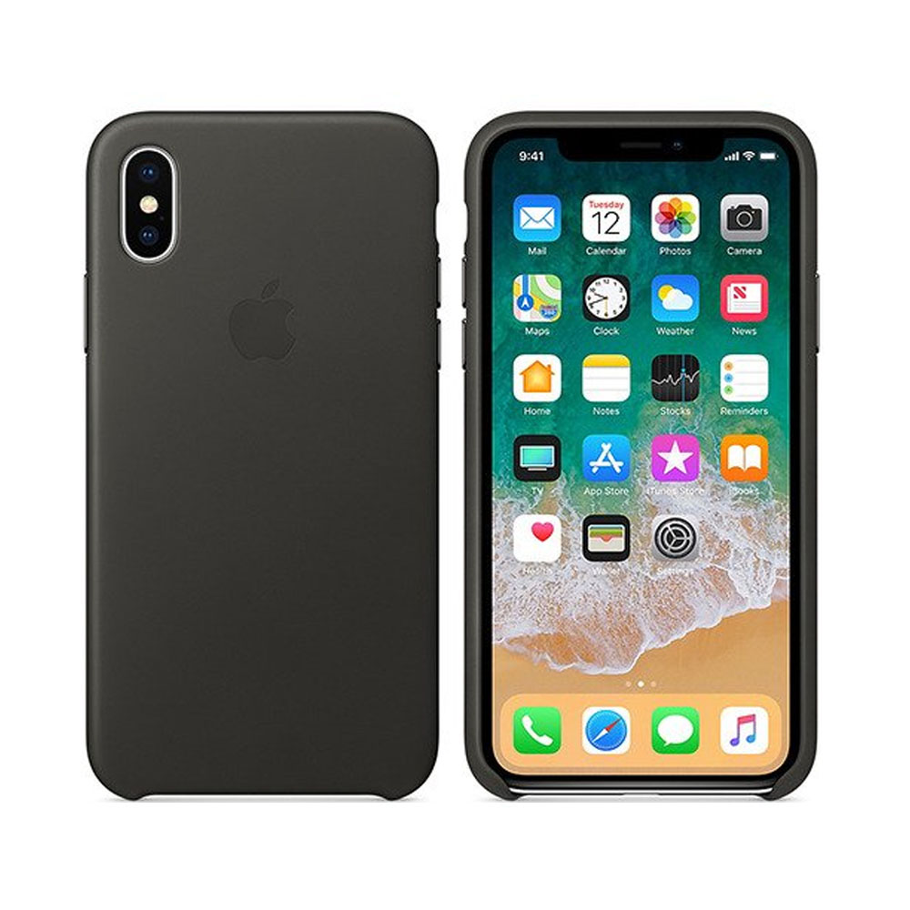 Чехол IPhone X Leather Case MQTF2ZM/A Charcoal Gray