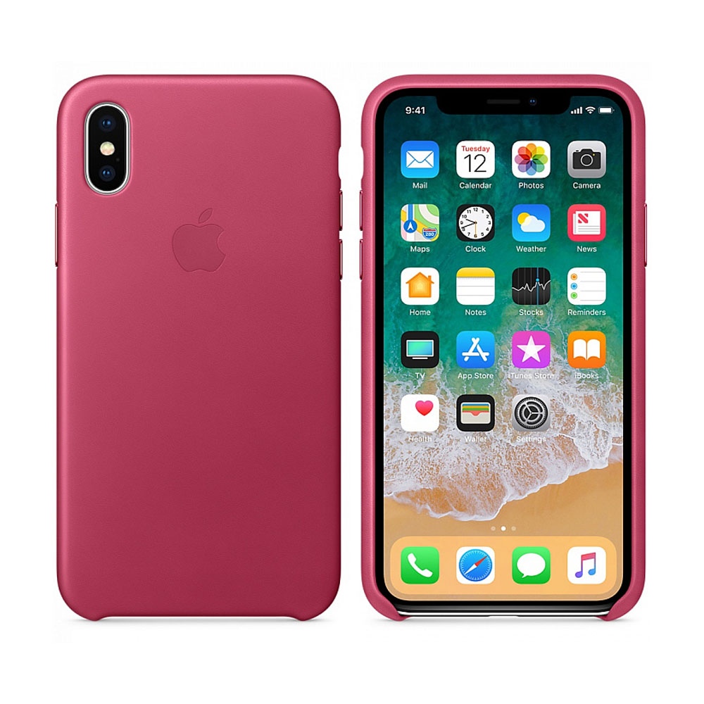 Чехол IPhone X Leather Case MQTJ2ZM/A Pink Fuchsia