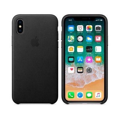 Чехол IPhone X Leather Case MQTD2ZM/A Black
